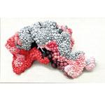 Argus I 2017 Softsculpture aus 60 Strumpfhosen und 1000 roten oder weißen Plastiktüten I 110 x 55 cm