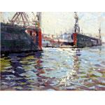 Blohm und Voss Docks I 2017 Öl auf Platte I 40 x 30 cm