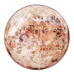 Der Gelehrte spricht I 2017 Collage auf Holzplatte Strukturen, Pasten, Acryl, Pastellkreide, Pigmente mit Blattgold I Ø 35 cm