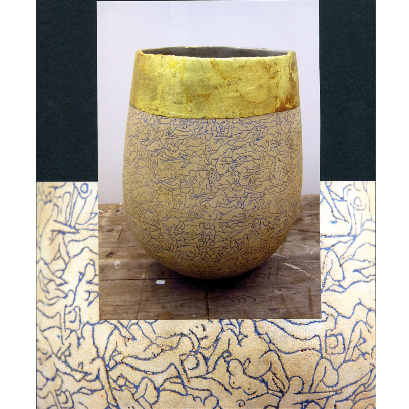 Leiber I Steinzeug mit Blattgold I 44 x 32 cm